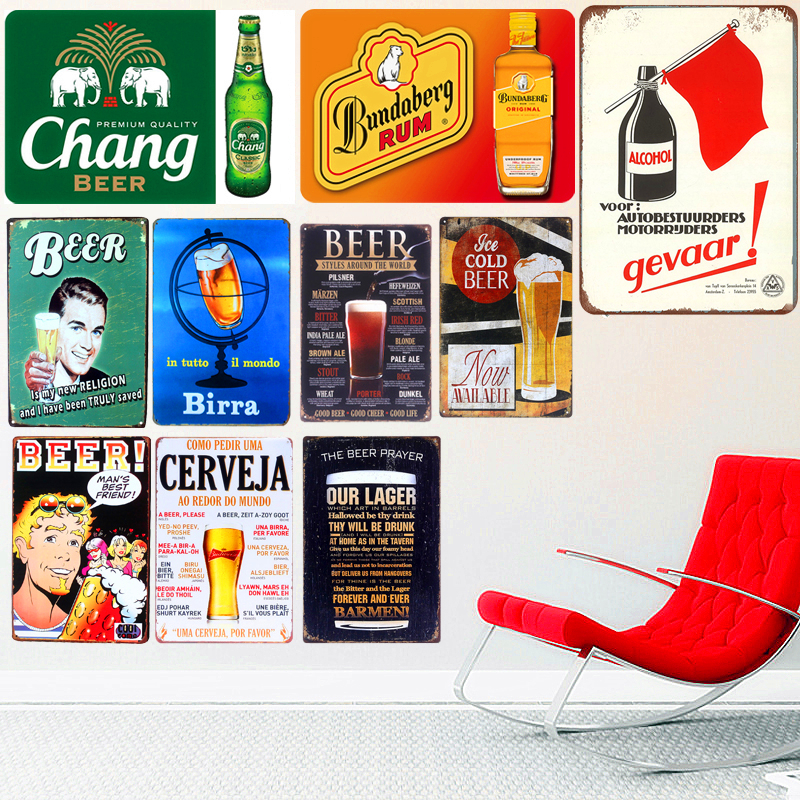 Bar Placas Decorativas Retro Placa Bebida Cerveza Metal Cartel de chapa Pub Club Decoración de pared Alcohol Art Poster Pintura Decoración para el hogar A113