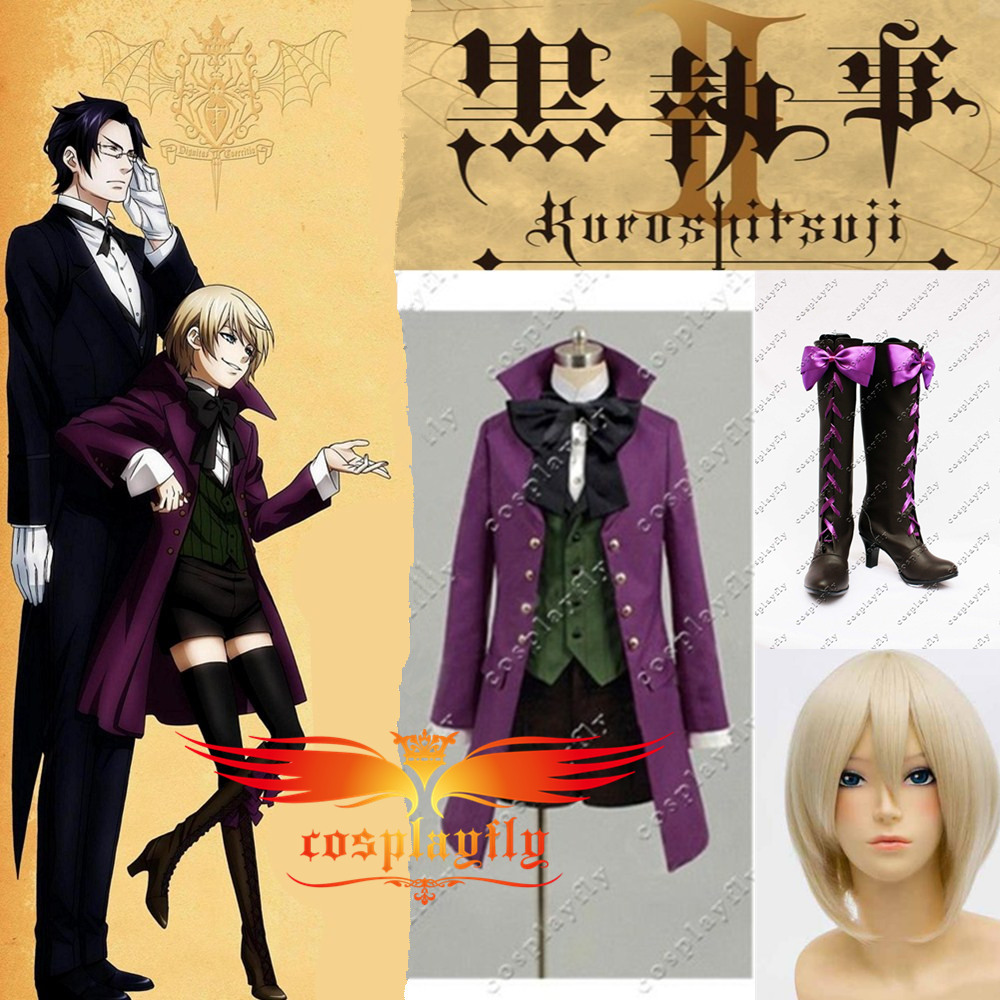 Black Butler II Alois Trancy Cosplay Costume with Free Black Stockings Cloth Wig and Wig Cap Shoes High Heel Boots Full Set