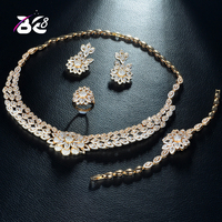 Be 8 Fashion Gold Color Nigerian Jewelry Sets for Women Wedding Jewelry Accessories Flower Shape Pendant Brand Jewelry Sets S284