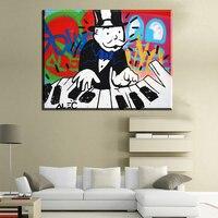 Monopoly CM104 biały i czarny DJ Alec ogromne graffiti drukuj obraz dekoracji obraz olejny na płótnie ściany w salonie