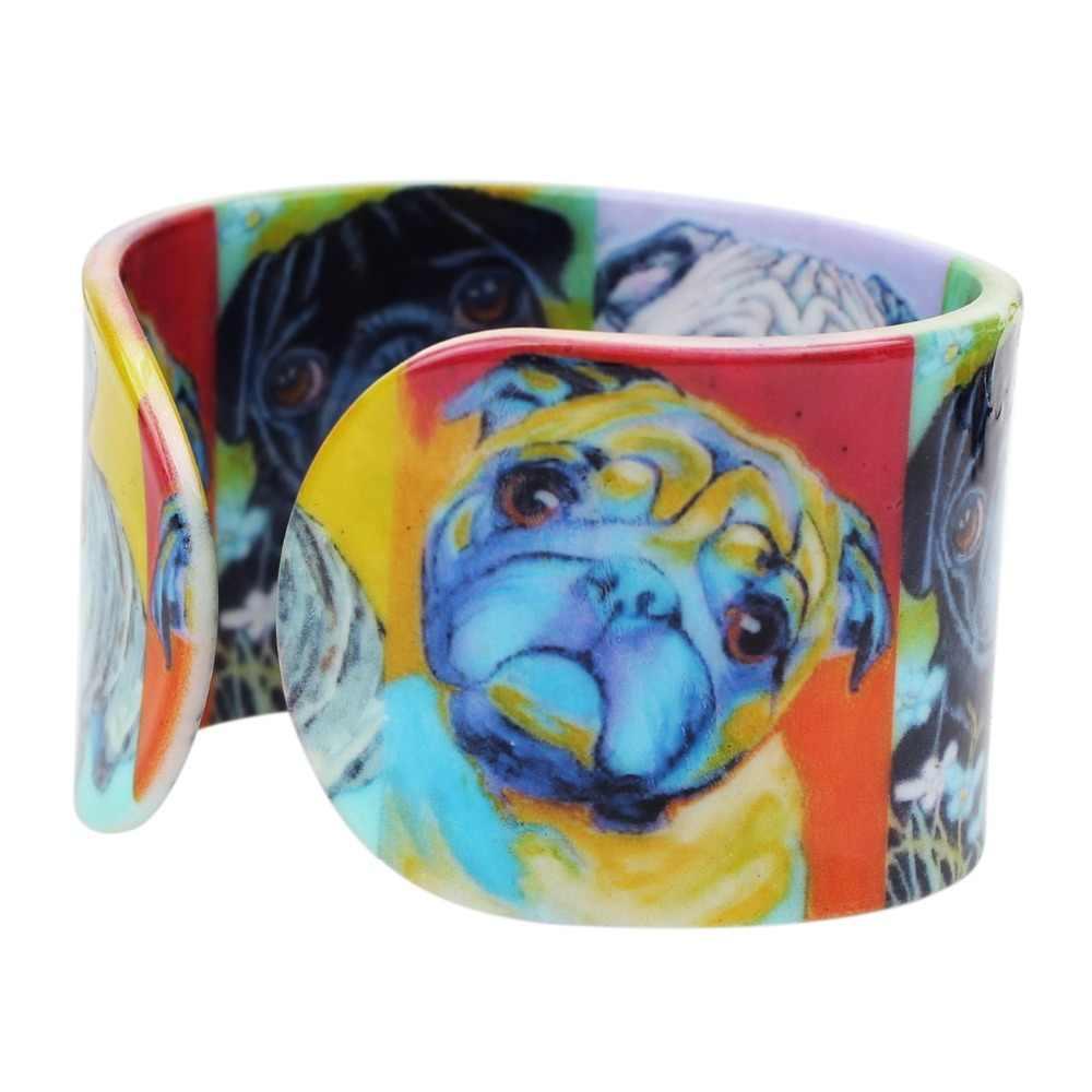 Bonsny Plástico Animais Pug Cão Buldogue Francês Indiana Pulseira de Moda Jóias Para As Mulheres Menina Atacado Acessórios Artesanais