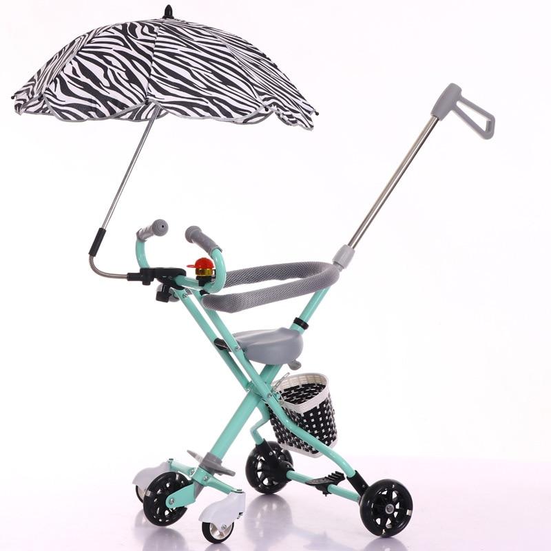 Five Flash Wheels Baby Umbrella Car Baby Walking Carrier Children Trolley Portable Folding Three Wheels Stroller Tricycle 1-6 Y Baby Stroller Three Wheels Stroller