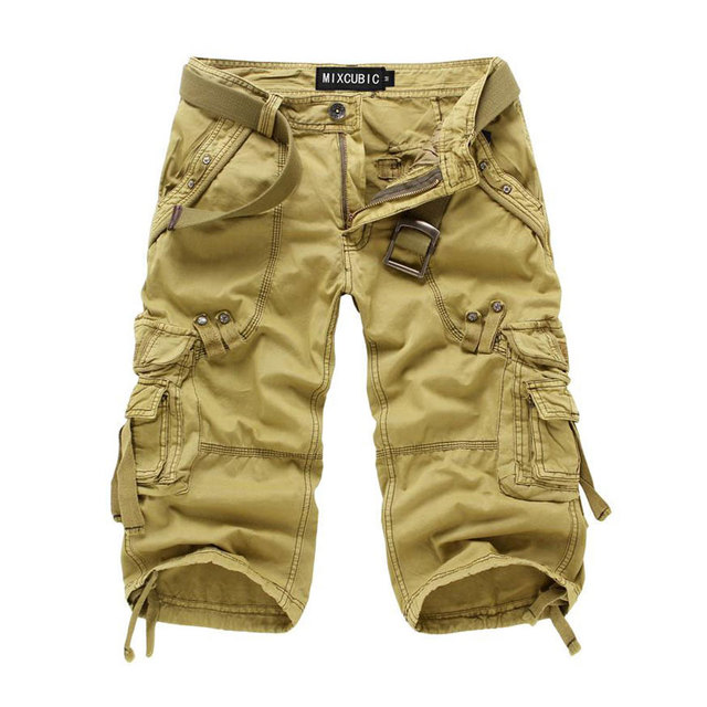 939f10d85d 2017 New Men Summer Military Cargo Shorts Cropped Trousers Loose Fit  Bermuda Masculine Fashion style Baggy Cargo Shorts 29-38