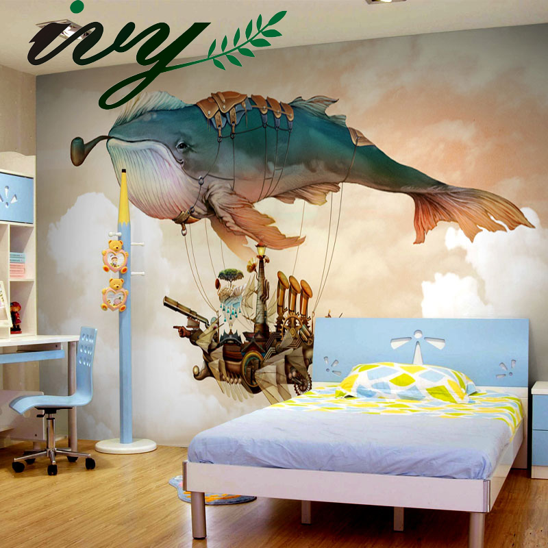 Cartoon Whale Wallpaper for Walls 3D papel de parede para quarto Wall Papers Home Decor PVC Walls Mural for Living Room Bedroom beibehang blue brick wallpaper for walls 3 d papel de parede para quarto mural wallpaper 3d wall papers home decor 3d flooring