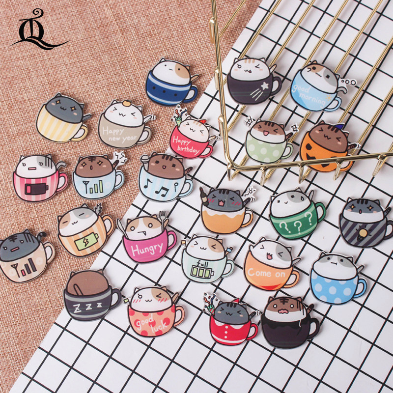 1 PCs Hand Painted The Cat Cups Series Acrylic Badges Kawaii Badge Icons On The Backpack Badges For Clothes Pin Brooch Z67