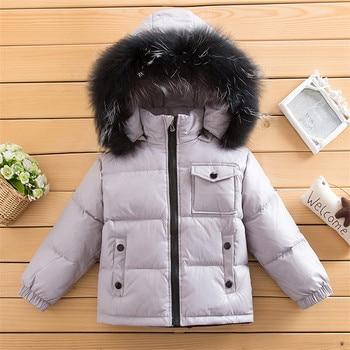 Children Winter Down Jackets 90% White Duck Down Real Fur Kids Outerwear Coat For Toddler Boy Girl 85-135 Cm Parkas Coat Clj309