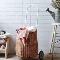 Carrito de mano para niños  cesta de ratán para Picnic  Camping  bolsa de compras  carrito con ruedas  carrito de tirón  para mujer  comprar verduras|Bolsos y cestas| |  -