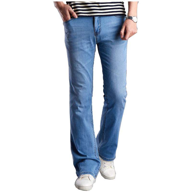 Casual Mens Bell Bottom Jeans Business thin Light Blue Mid Waist  Slim Fit Boot Cut Semi-flared Flare Leg Denim Pants Size 27-36