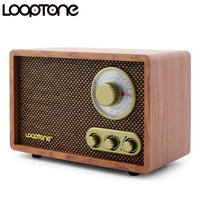 LoopTone Tabletop AM/FM Bluetooth Radio Vintage Retro Classic Radio W/ Built in Speaker Treble&Bass Control Hand crafted Wood