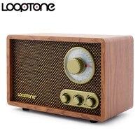 LoopTone Tabletop AM/FM Bluetooth Radio Vintage Retro Classic Radio W/ Built in Speaker Treble&Bass Control Hand crafted Wood