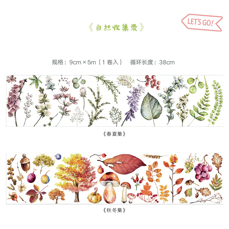 Natural Plant Collection 9cm Wide Washi Tape Stickers Adhesive Tape For Tool Scrapbook Diy korean Stationery Floral masking Tape