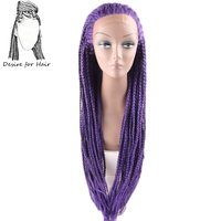Desire for hair 28inch 70cm long pre braided box braids heat resistant lace front synthetic wigs for black woman purple color