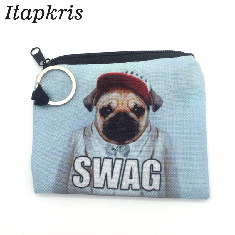 Dog Printing Housekeeper Coin Purse For Girl Children Small Key Wallet Pouch Cute Money Pocket ID Credit Card Holder Keyring
