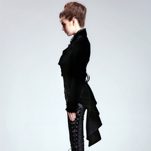DEVIL FASHION Gothic Punk pattern with restoring ancient ways with brooch asymmetry dovetail Women outerwear coat