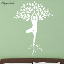 Slender Woman Yoga Pose Wall Sticker Tree Pattern Decoration for Girl Bedroom Wall Stickers Removable Vinyl Wall Mural cute pandas tree pattern wall stickers for children s bedroom decoration
