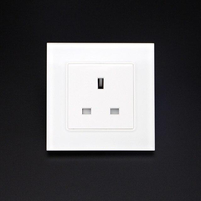 Free Shipping UK Socket Crystal Glass Switch 3 Pin Wall Plug Socket ...
