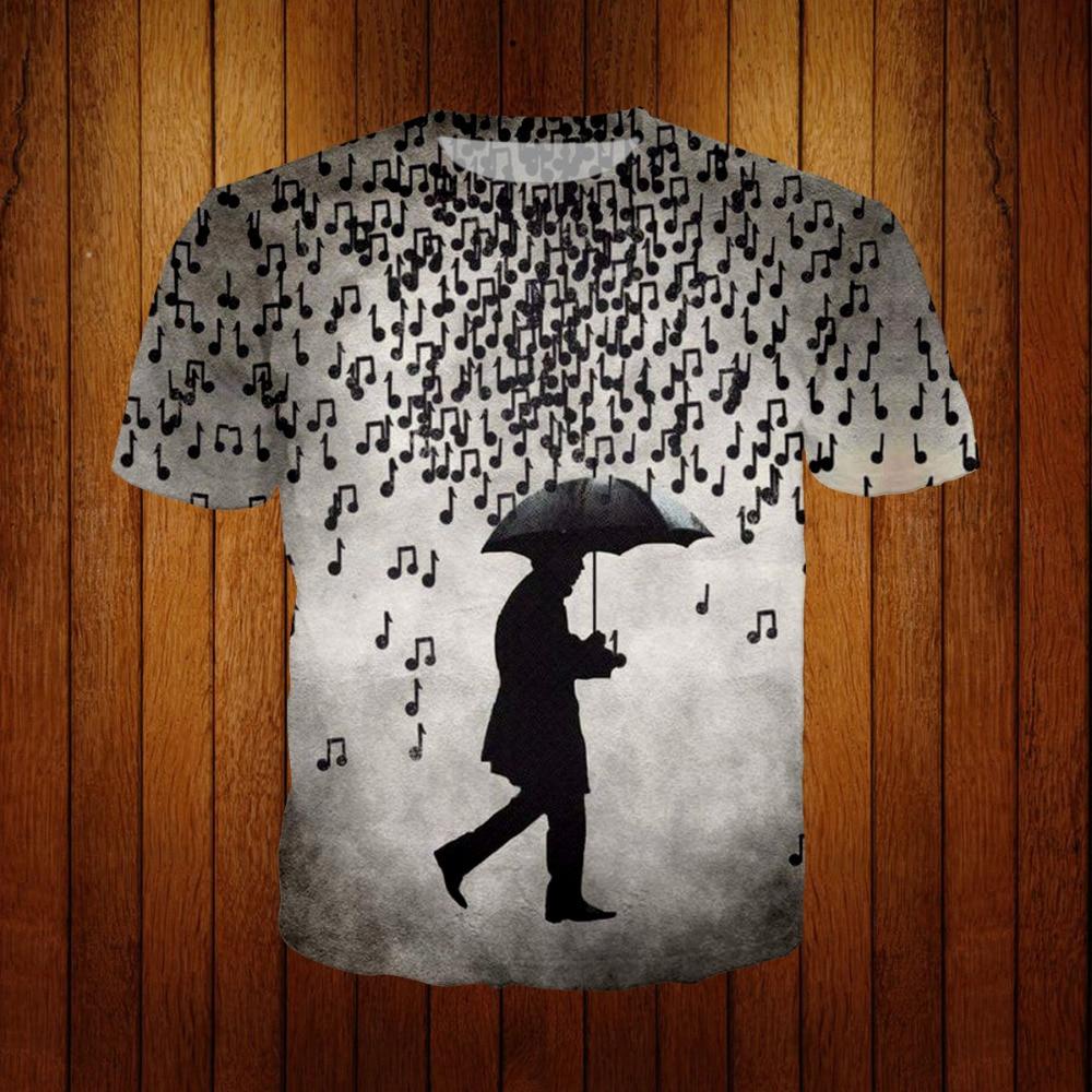 Women Men Casual 3D T-Shirt Music Note Pattern Print Shirt Short Sleeve Tee Tops