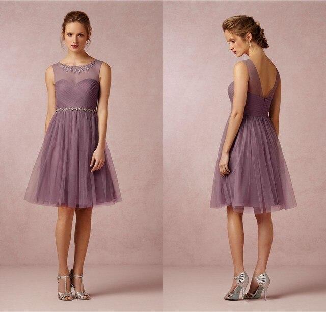 Est Wedding Party Dress Crew Neck Soft Tulle Skirt Mauve Short Junior Bridesmaid Dresses 2017 Crystal