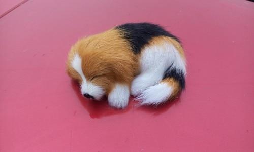 cute simulation dog model toy polyethylene&fur mini black&yellow sleeping dog doll gift about 10×4.5×7.5cm 0877