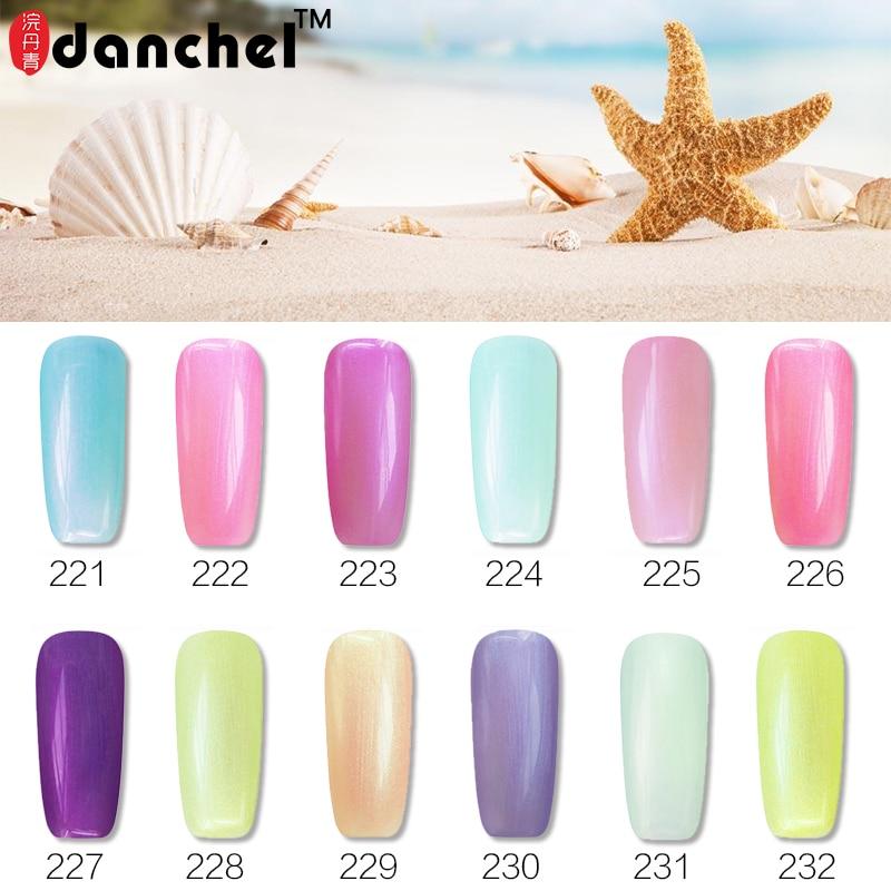 Danchel 12 friss nyári színű gyöngygél lengyel áztatás kagyló UV körömgél lengyel manikűr lakk fényes gél lakk körömlakk