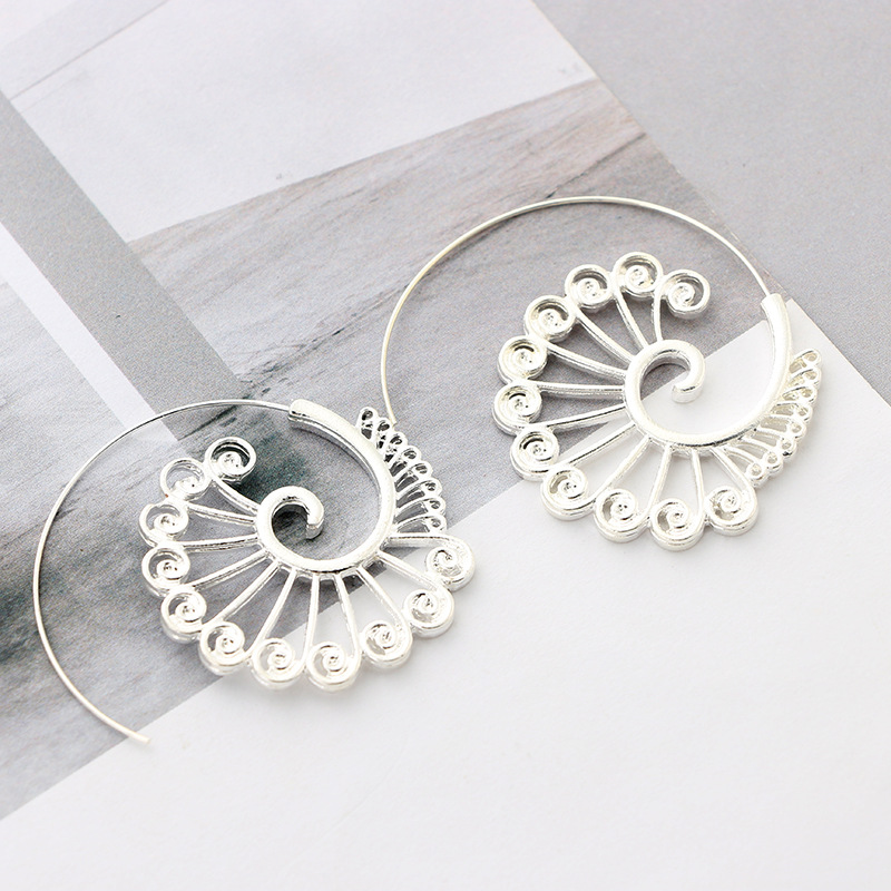 Trendy 2 Color Big Swirl Hoops Round Circles Flower Earrings for Women Gold Steel Color Earring Female Punk Fashion Jewelry
