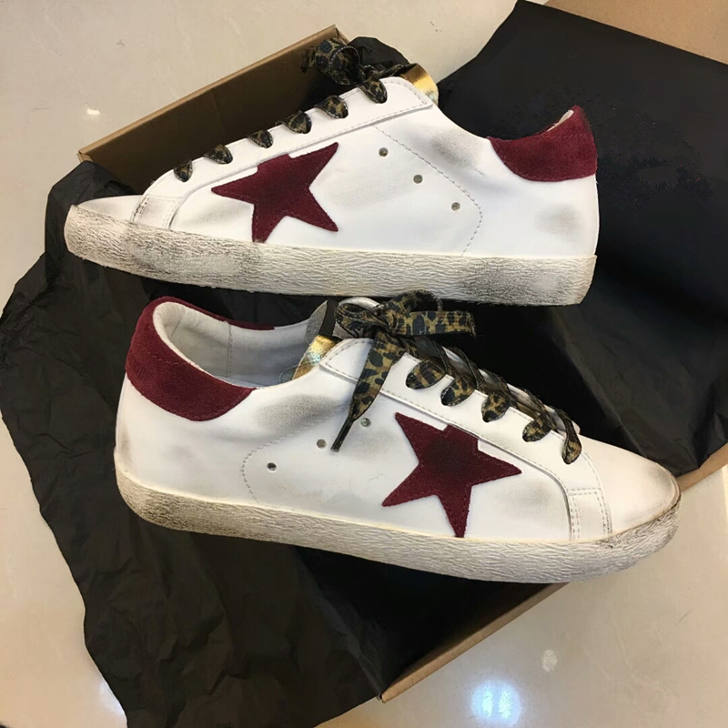 2018 New Women Super Star Sneakers Casual Shoe Round Toe Distressed Leather Lace Up Vintage Do Old Dirty Shoes Zapatos de Mujer woman burst leather casual shoes golden star women do old dirty shoes female lace up distressed leather vintage flat shoes