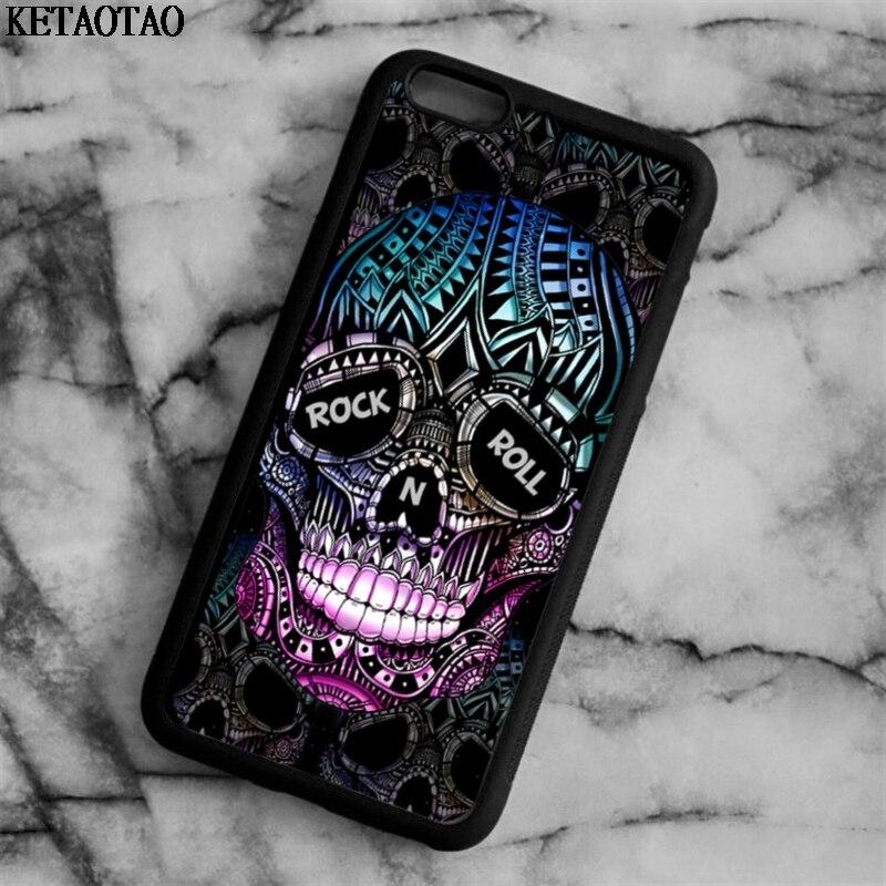 WohltäTig Ketaotao Rock Und N Roll Zucker Schädel Telefon Fällen Für Iphone 4 S 5c 5 S 6 6 S 7 8 Plus X Für Samsung Fall Weichen Tpu Gummi Silikon