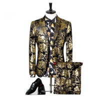 Niceness (jackets+pants) Men Wedding Suit Printed Paisley Floral Black Gold Tuxedo Stage Costumes For Singer Slim Fit Male S 3XL