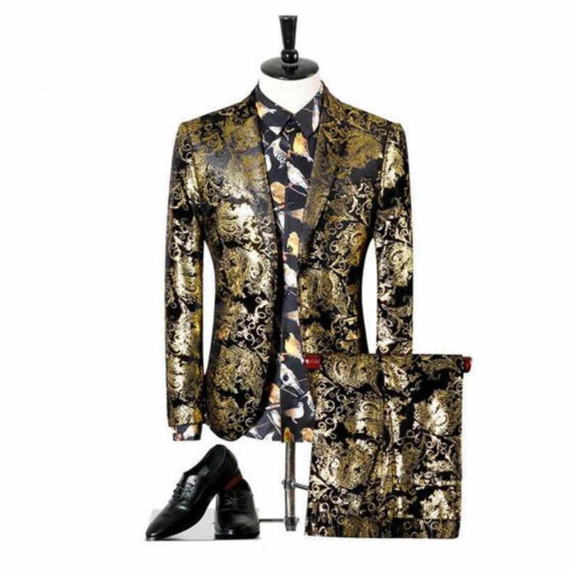 Niceness (ジャケット + パンツ) 男性の結婚式のスーツプリントペイズリー花黒ゴールドタキシードステージ衣装歌手スリムフィット男性 S-3XL