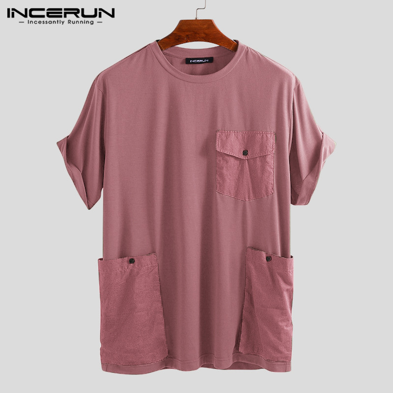 INCERUN Summer Fashion Men T Shirt Multi Pockets Solid Casual Tee Tops High Street Loose Short Sleeve Couple T-shirts Men 2019
