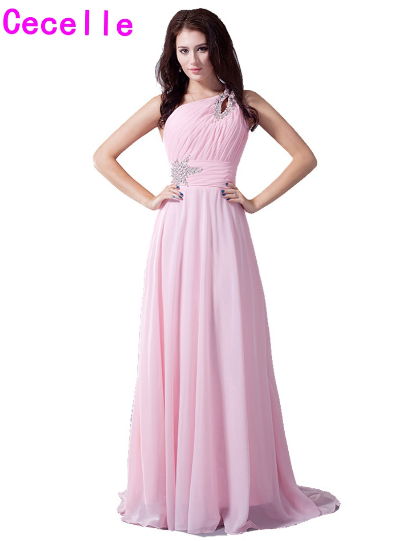 Online get cheap pink one shoulder bridesmaid dresses aliexpress 2017 real pink one shoulder bridesmaids dresses beaded pleats ruched chiffon formal wedding party gowns country ombrellifo Images