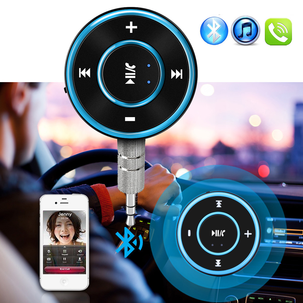 JINSERTA Wireless Bluetooth Audio Receiver Handsfree Car Kit A2DP Music Audio Adapter 3.5mm AUX Jack for Headphone Speaker