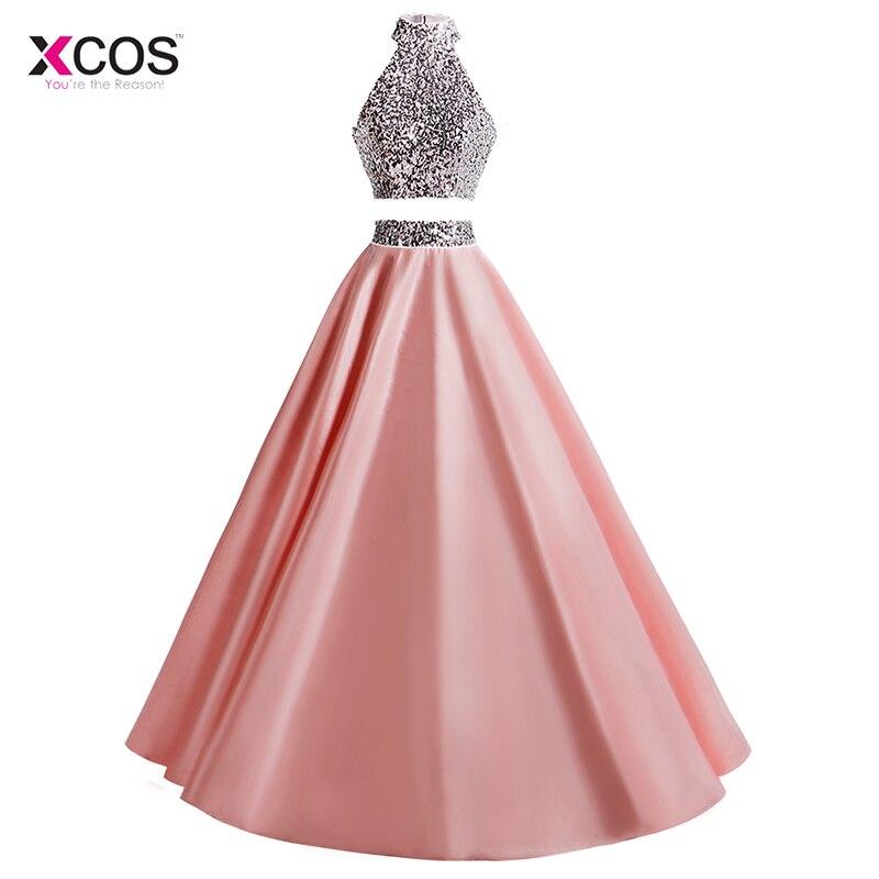 Sequins Beaded Halter Two Piece Royal Blue Prom Suknelės 2018 A-Line - Ypatinga proga suknelės