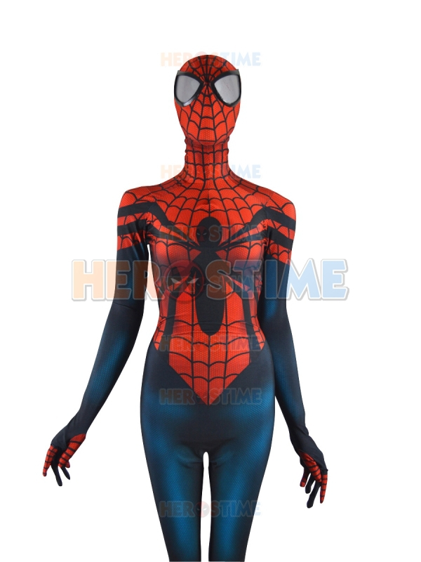 Free Shipping Red/Blue Spider-Girl Costume Mayday Parker Spiderman Superhero Costume Free Shipping
