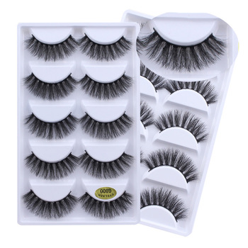 5 Pairs/Box Real Mink 3D False eyelashes Natural Short Winged Fake Eyelashes Cosmetic Made in China