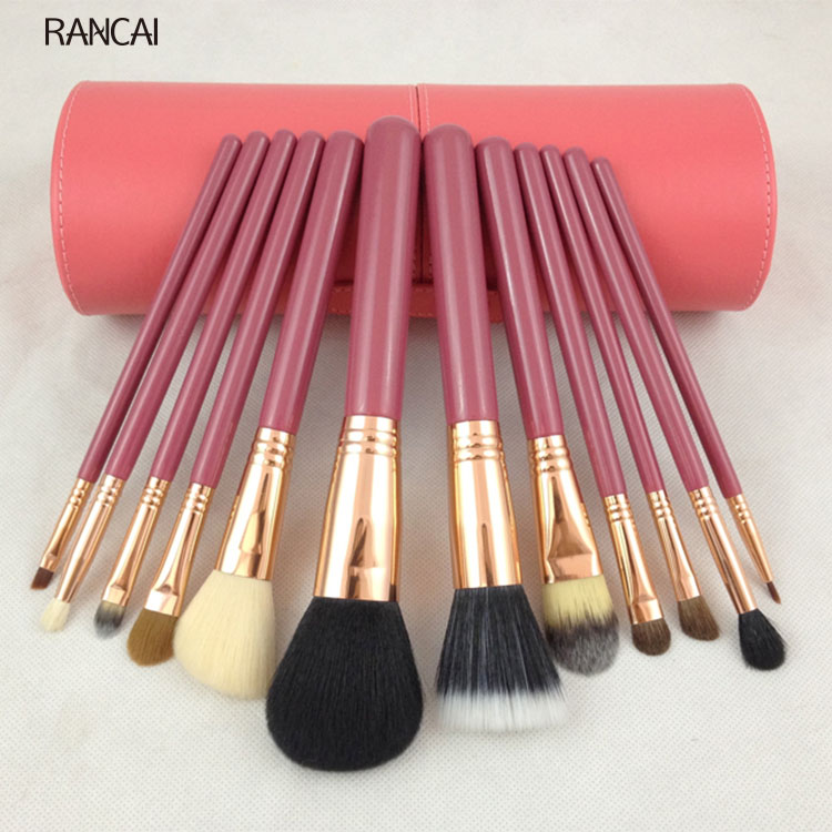 ФОТО Professional 12pcs Makeup Brushes Set Face Eyeshadow Foundation Powder Blending Cosmetic Make Up Tools With Round Case