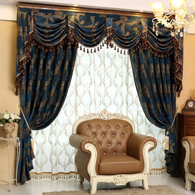 Luxury Chenille Jacquard Blue Chinese Curtains Valances And Tulles Lace Cortinas For Living Room Home Decor