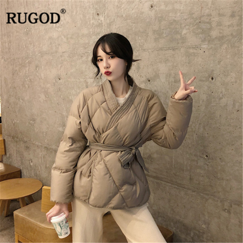 RUGOD Vintage Solid Women Jacket Coat Cotton Women Coat With Belt Thick Warm Winter Clothes Abrigos Mujer Invierno 2019