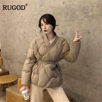 RUGOD Vintage chaqueta sólida para mujer abrigo de algodón para mujer con cinturón grueso ropa de invierno abrigados abrigadores mujer invierno 2019
