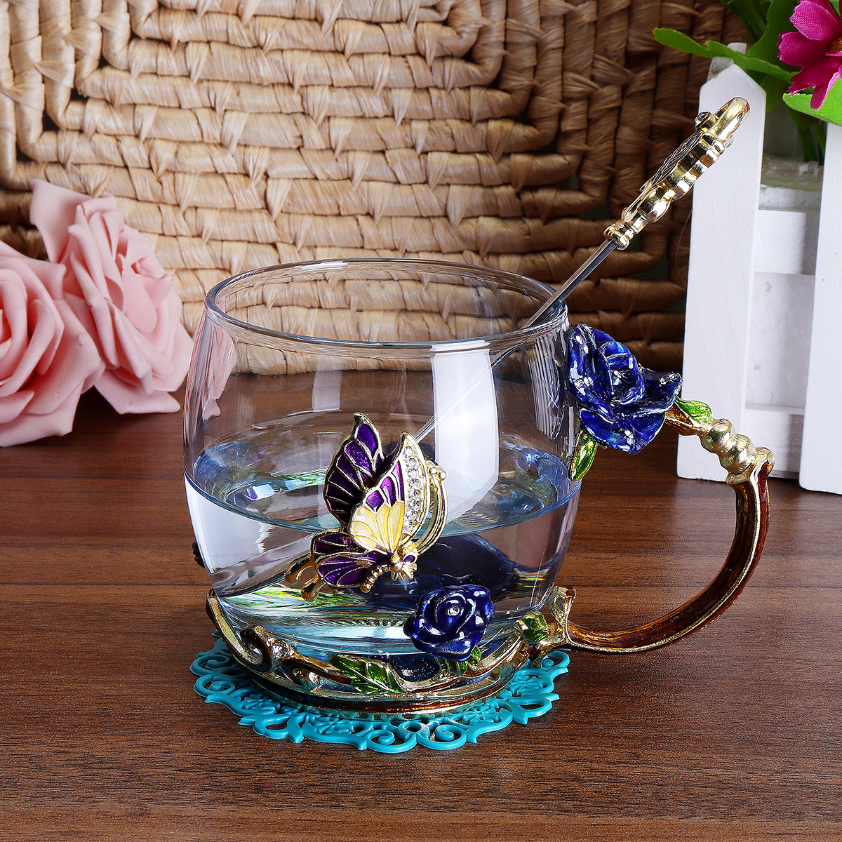 Beauty And Novelty Enamel Coffee Cup Mug Flower Tea Glass Cups for Hot and Cold Drinks Beauty And Novelty Enamel Coffee Cup Mug Flower Tea Glass Cups for Hot and Cold Drinks Tea Cup Spoon Set Perfect Wedding Gift