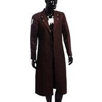 Attaque Sur Titan Cosplay Enquête Corps Eren Rivaille Ackerman Costume Vêtements pour Hommes Pardessus Manteau de Poussière