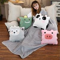 cartoon dinosaur panda pig sheep stuffed toys cushion plush soft winter hand warmer blanket birthday christmas gift toy #1738