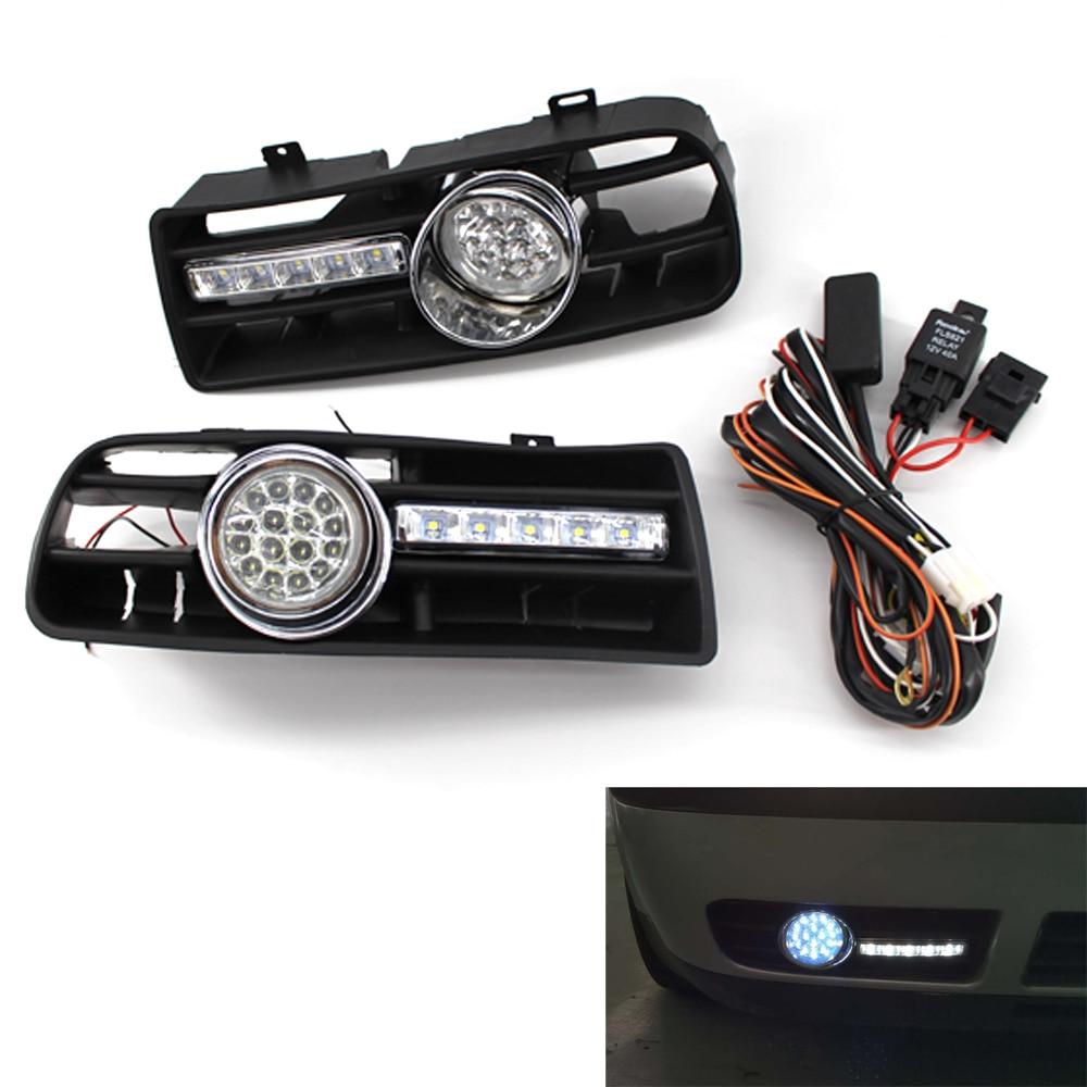 Front Bumper Grill LED Fog Light Grille W/ LED DRL Lamp for VW Golf GTi / TDI MK4 97 03