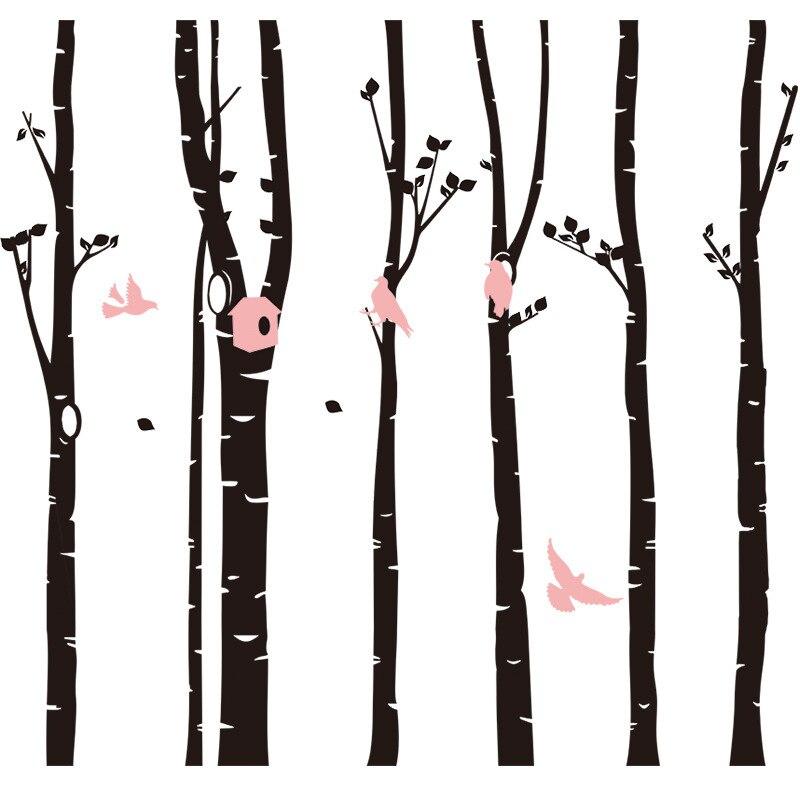 Bouleau arbres Stickers muraux arbre Sticker mural amovible noir bbouleau Stickers muraux arbres bébé pépinière chambre vinyle décor mural - 4