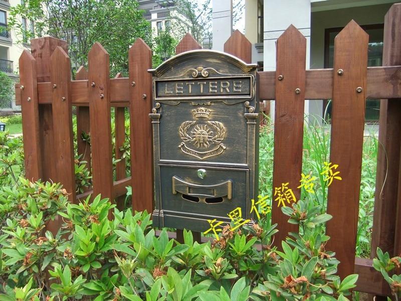 The sun pattern bronze mailbox Vintage Cast Aluminum Wall Mount Mailbox Mail Box P.O box With 2 Lock Key
