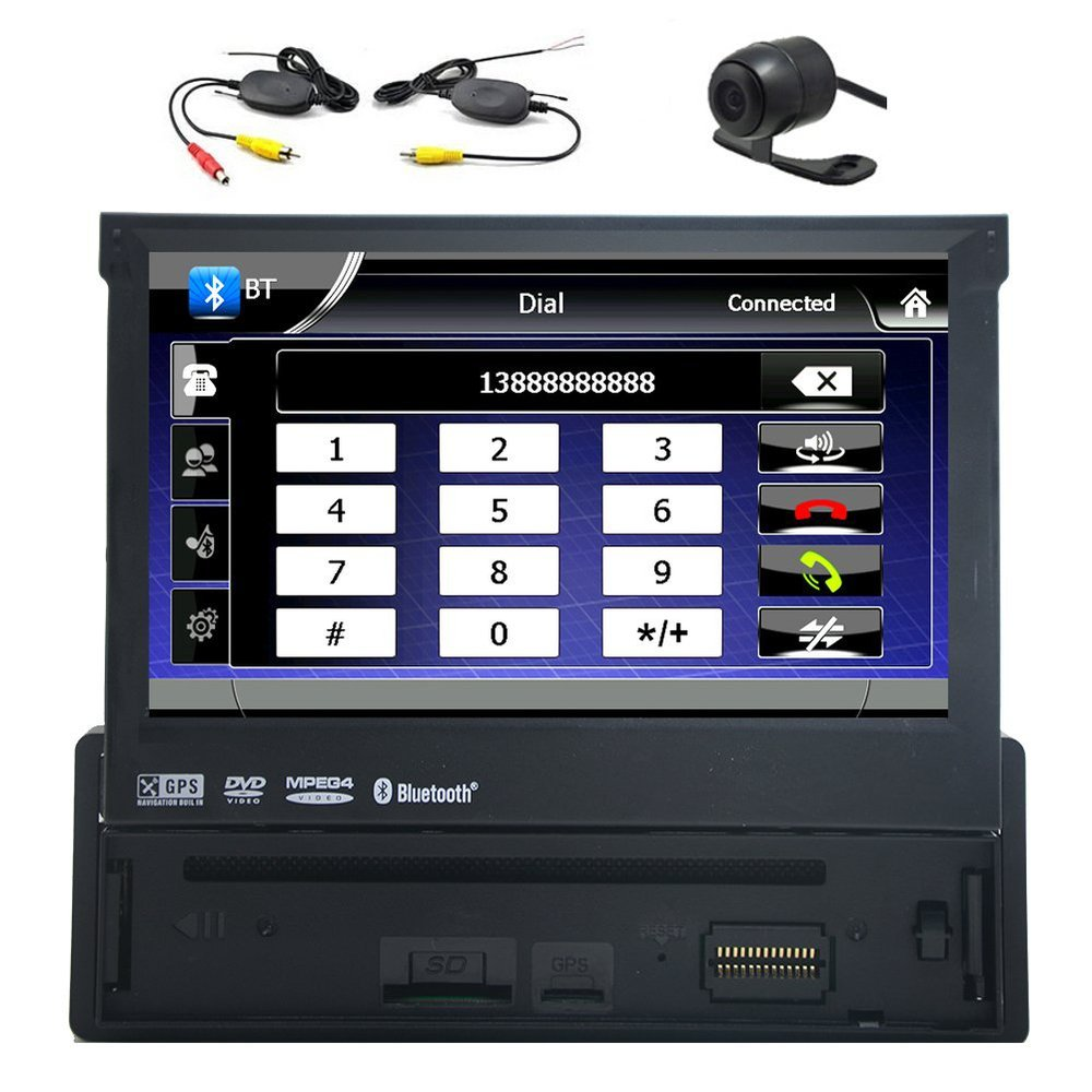 1 Din 7 inch Bluetooth Digital Media Car Stereo Receiver with GPS Navigation FM AM Radio Headunit Car DVD Player