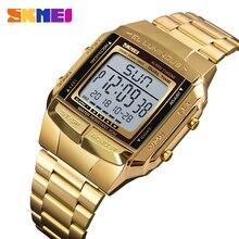 Часы SKMEI мужские с хронографом, брендовые водонепроницаемые спортивные цифровые наручные, с обратным отсчётом, из нержавеющей стали