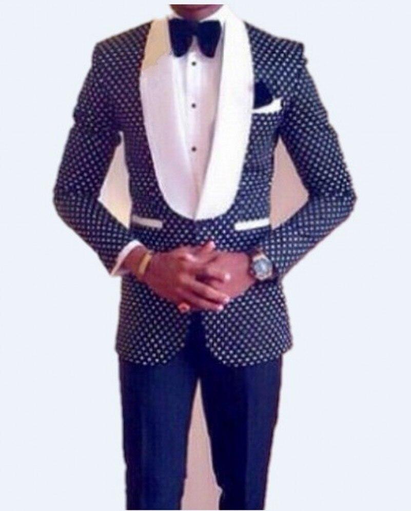 Slim Fit Azul Marinho Xaile Branco Lapela Do Noivo Smoking Padrinhos Homens Ternos de Casamento Best Man (Jacket + Pants + gravata + Lenço)