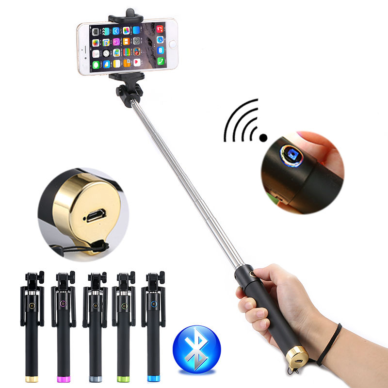 Mini universal bluetooth wireless remote button selfie stick tripod monopod/selfie stick bluetooth for android IOS smartphones