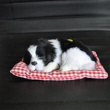 1 шт., яркая маленькая плюшевая собака, милые игрушки для спящей собаки, креативная лающая, поддельный щенок, забавный автомобиль, домашний офисный декор, 18*8 см